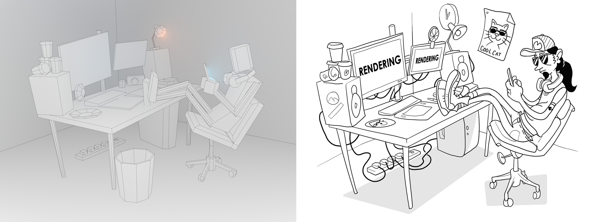 Remarkable Working Hard 3D Illustration We Are Formation Evergreenethics Interior Chair Design Evergreenethicsorg